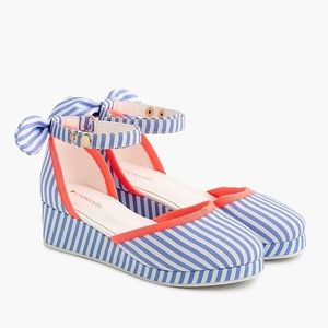 New CREWCUTS Striped Fabric Wedges Shoes
